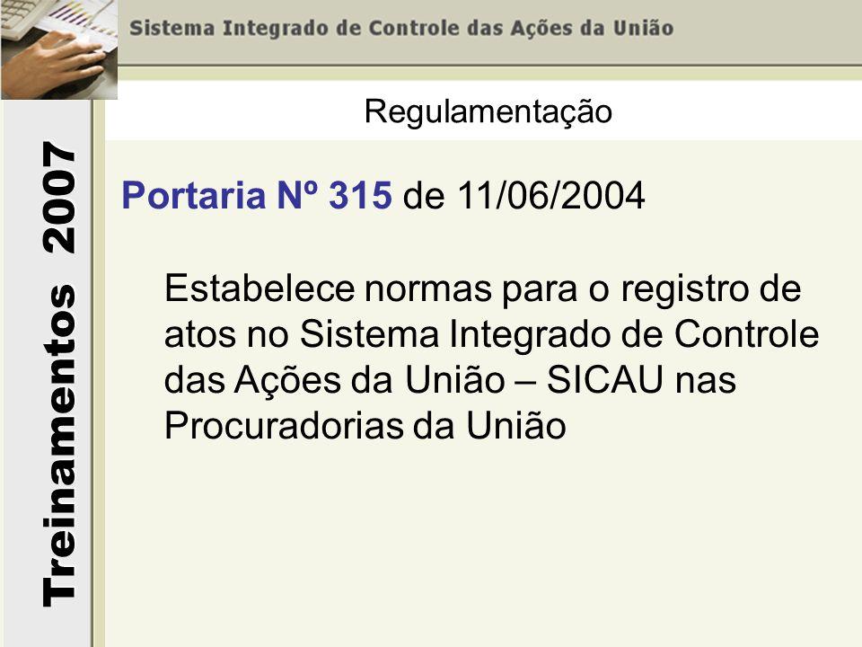Treinamentos 2007 Regulamentação Portaria Nº 315 de 11/06/2004 Estabelece normas para o registro de atos no Sistema Integrado de Controle das Ações da