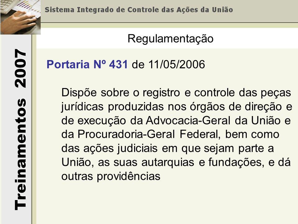 Treinamentos 2007 Regulamentação Portaria Nº 431 de 11/05/2006 Dispõe sobre o registro e controle das peças jurídicas produzidas nos órgãos de direção