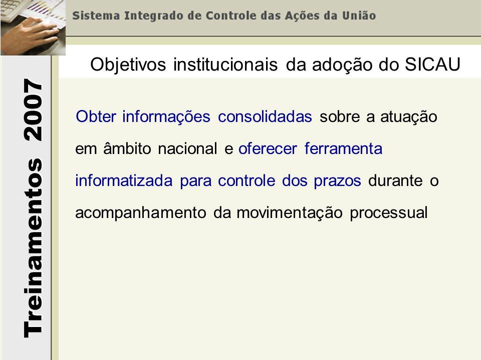 Treinamentos 2007 Obter informações consolidadas sobre a atuação em âmbito nacional e oferecer ferramenta informatizada para controle dos prazos duran