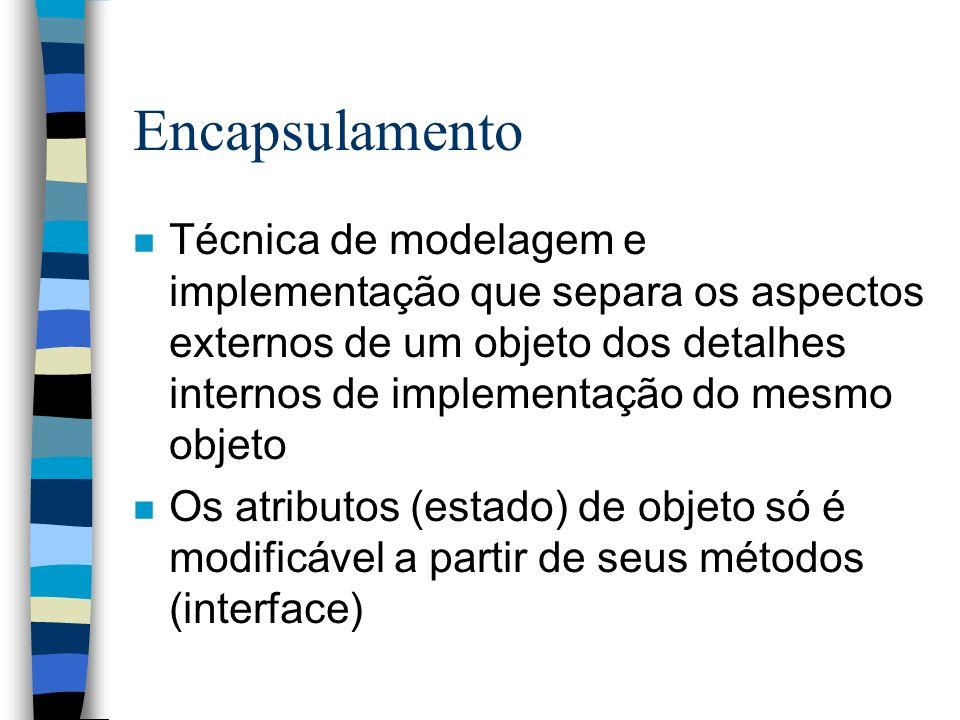 Encapsulamento n Técnica de modelagem e implementação que separa os aspectos externos de um objeto dos detalhes internos de implementação do mesmo obj
