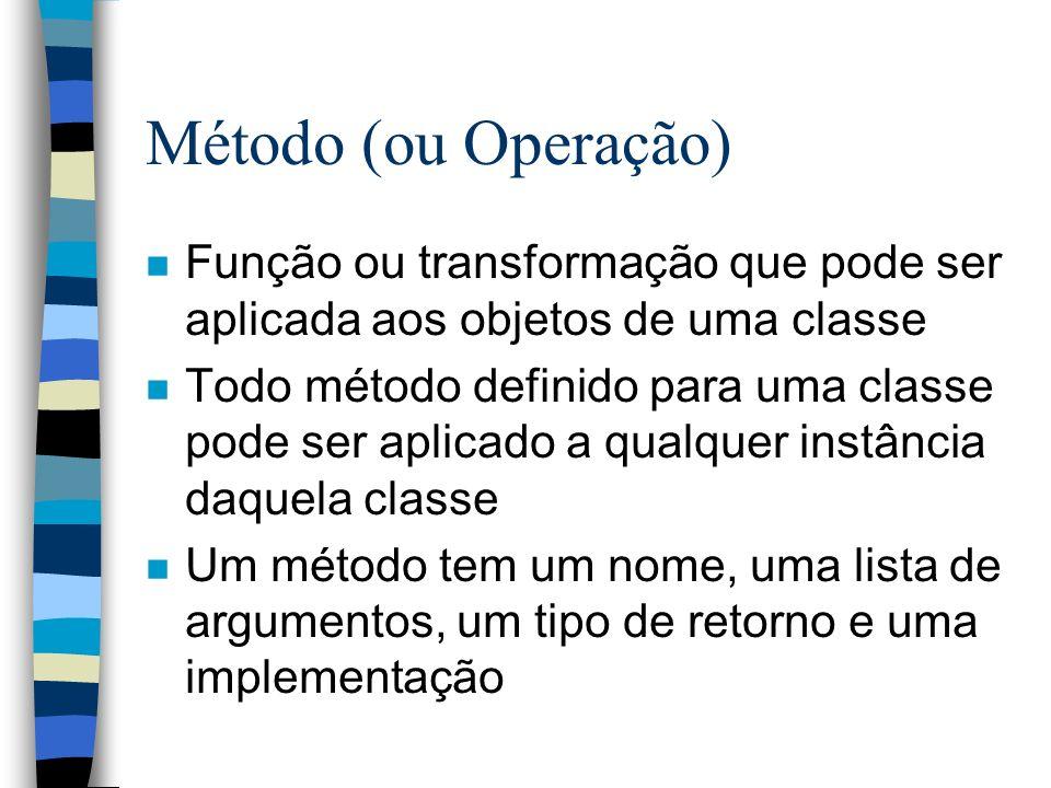 Método (ou Operação) n Função ou transformação que pode ser aplicada aos objetos de uma classe n Todo método definido para uma classe pode ser aplicad