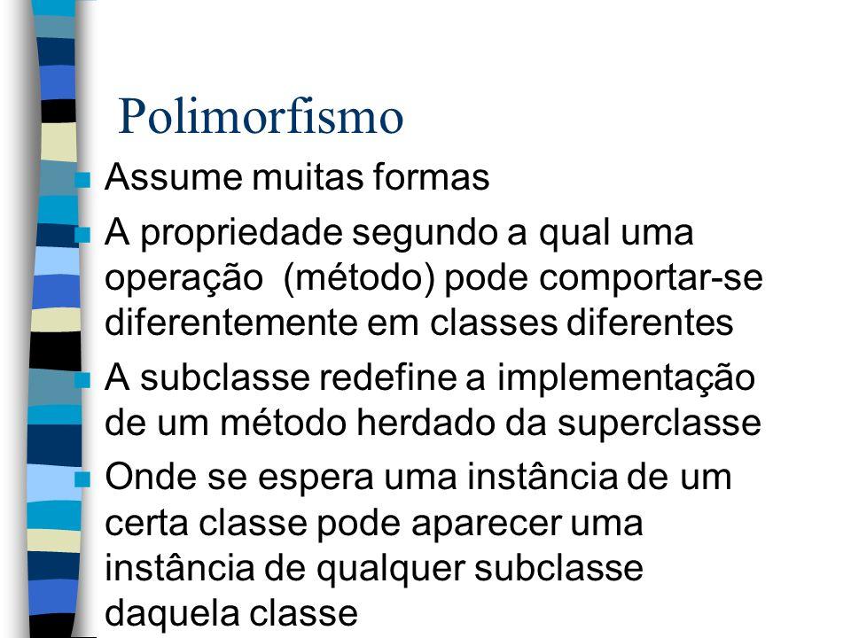 Polimorfismo n Assume muitas formas n A propriedade segundo a qual uma operação (método) pode comportar-se diferentemente em classes diferentes n A su