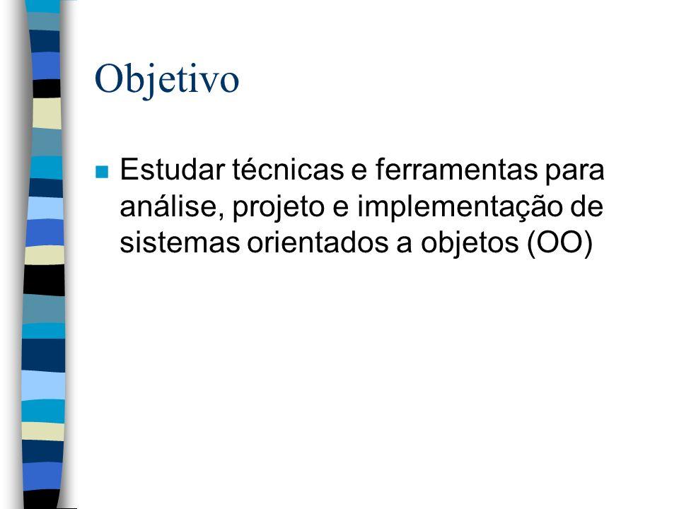 Ementa n Conceituação de OO n Método para modelagem OO –Modelagem de Objetos –Modelagem Dinâmica –Modelagem Funcional n Programação OO