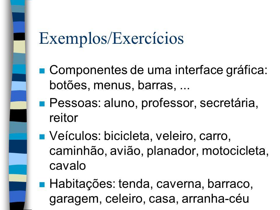 Exemplos/Exercícios n Componentes de uma interface gráfica: botões, menus, barras,... n Pessoas: aluno, professor, secretária, reitor n Veículos: bici
