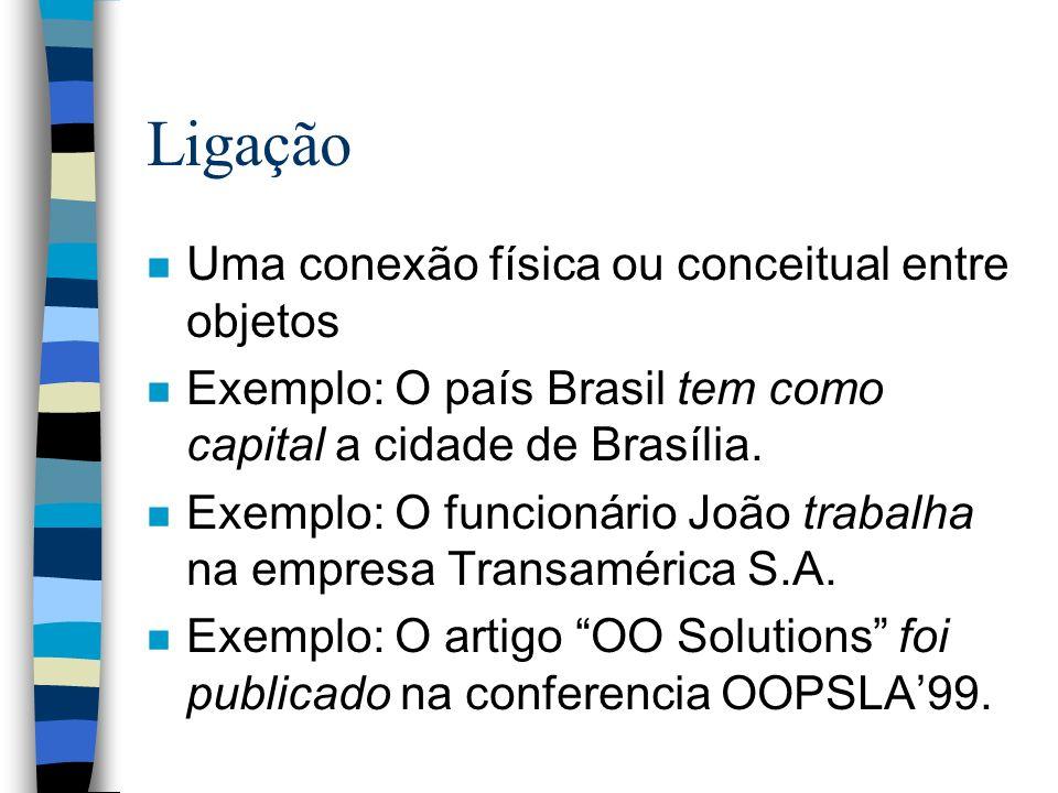 Ligação n Uma conexão física ou conceitual entre objetos n Exemplo: O país Brasil tem como capital a cidade de Brasília. n Exemplo: O funcionário João