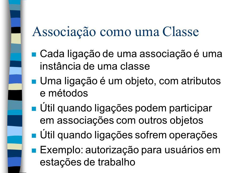 Associação como uma Classe n Cada ligação de uma associação é uma instância de uma classe n Uma ligação é um objeto, com atributos e métodos n Útil qu