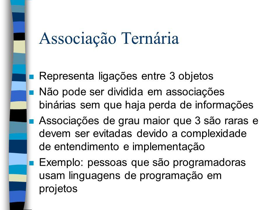 Associação Ternária n Representa ligações entre 3 objetos n Não pode ser dividida em associações binárias sem que haja perda de informações n Associaç
