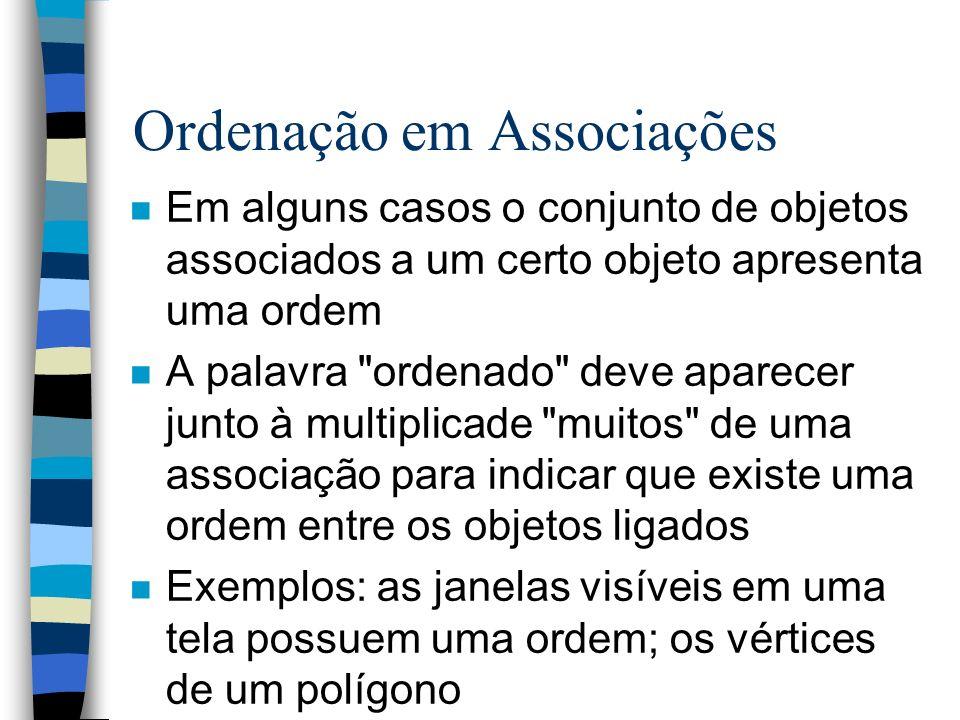 Ordenação em Associações n Em alguns casos o conjunto de objetos associados a um certo objeto apresenta uma ordem n A palavra