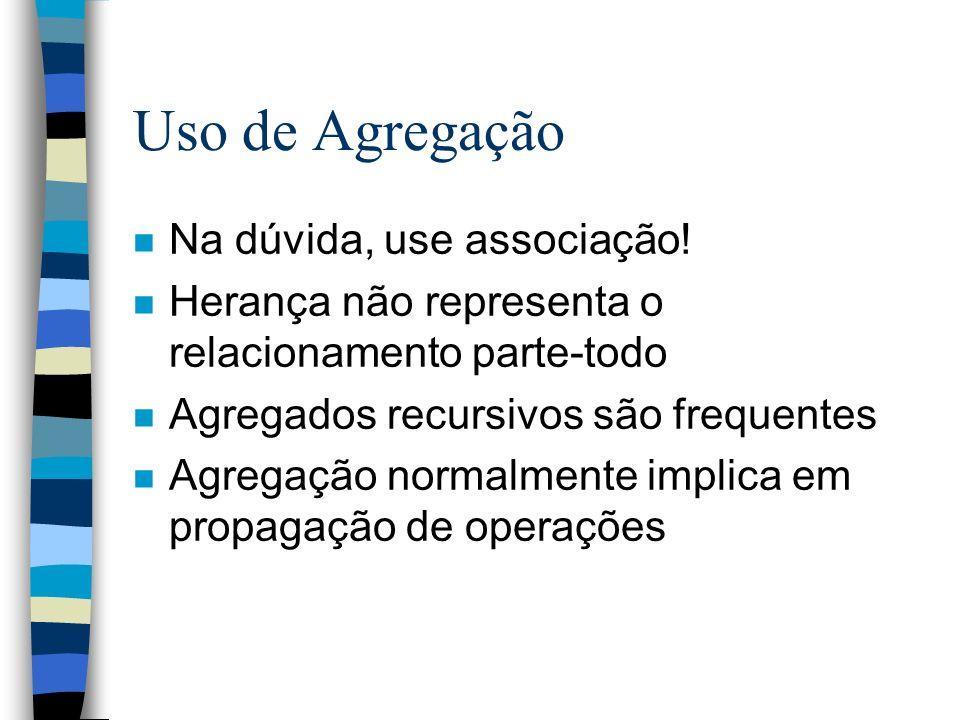 Uso de Agregação n Na dúvida, use associação! n Herança não representa o relacionamento parte-todo n Agregados recursivos são frequentes n Agregação n