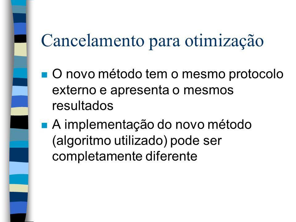 Cancelamento para otimização n O novo método tem o mesmo protocolo externo e apresenta o mesmos resultados n A implementação do novo método (algoritmo