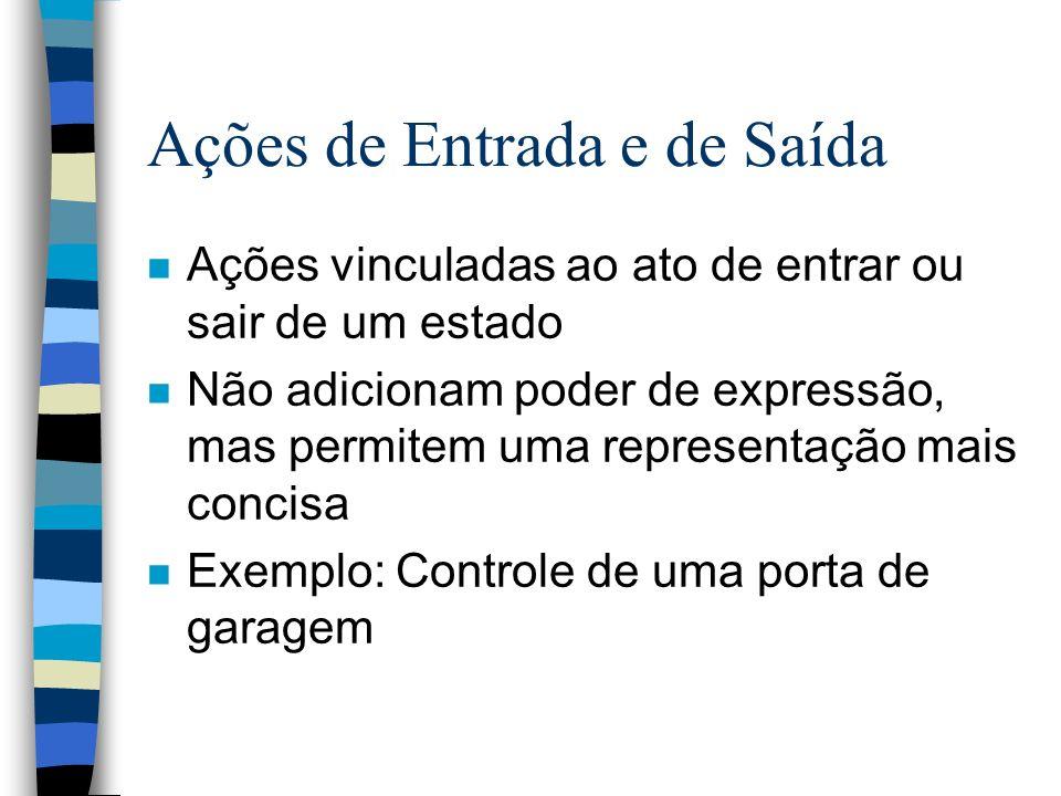 Ações de Entrada e de Saída n Ações vinculadas ao ato de entrar ou sair de um estado n Não adicionam poder de expressão, mas permitem uma representaçã