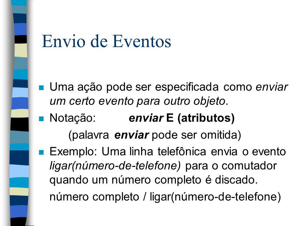 Envio de Eventos n Uma ação pode ser especificada como enviar um certo evento para outro objeto. n Notação:enviar E (atributos) (palavra enviar pode s