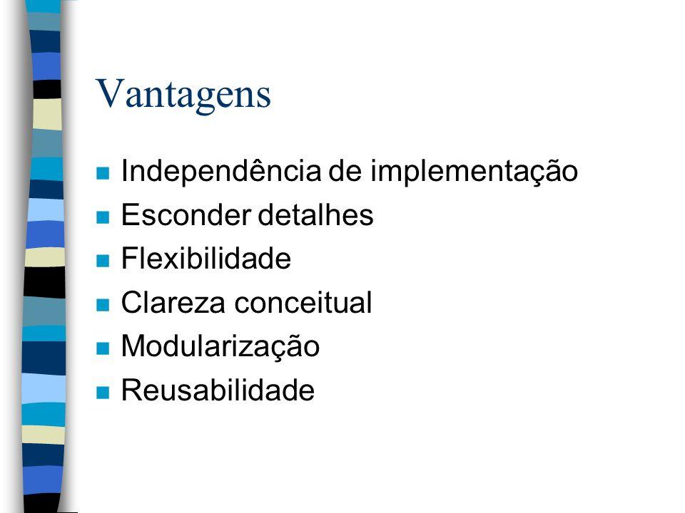 Vantagens n Independência de implementação n Esconder detalhes n Flexibilidade n Clareza conceitual n Modularização n Reusabilidade