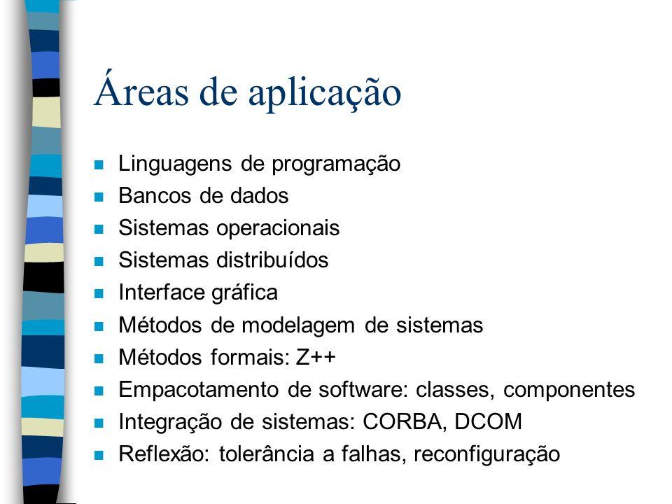 Áreas de aplicação n Linguagens de programação n Bancos de dados n Sistemas operacionais n Sistemas distribuídos n Interface gráfica n Métodos de mode