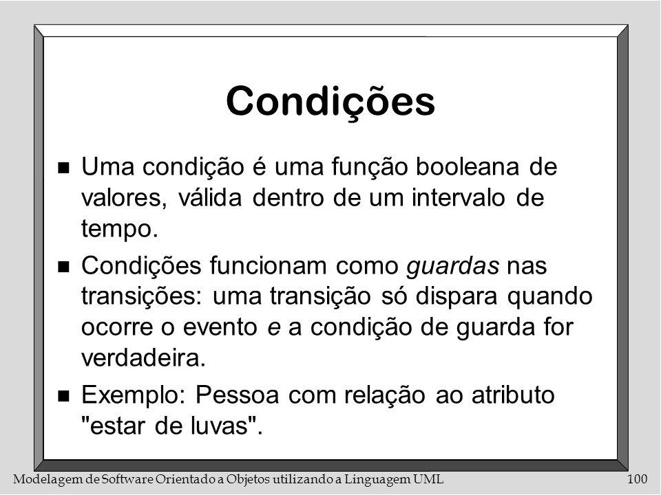 Modelagem de Software Orientado a Objetos utilizando a Linguagem UML100 Condições n Uma condição é uma função booleana de valores, válida dentro de um