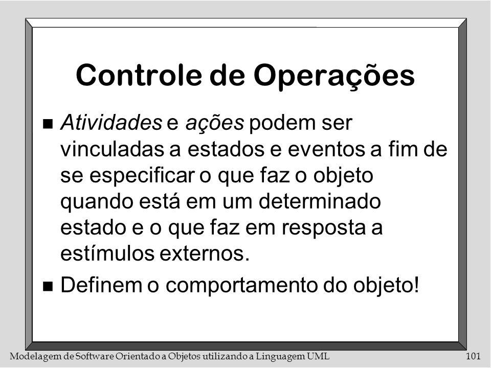 Modelagem de Software Orientado a Objetos utilizando a Linguagem UML101 Controle de Operações n Atividades e ações podem ser vinculadas a estados e ev
