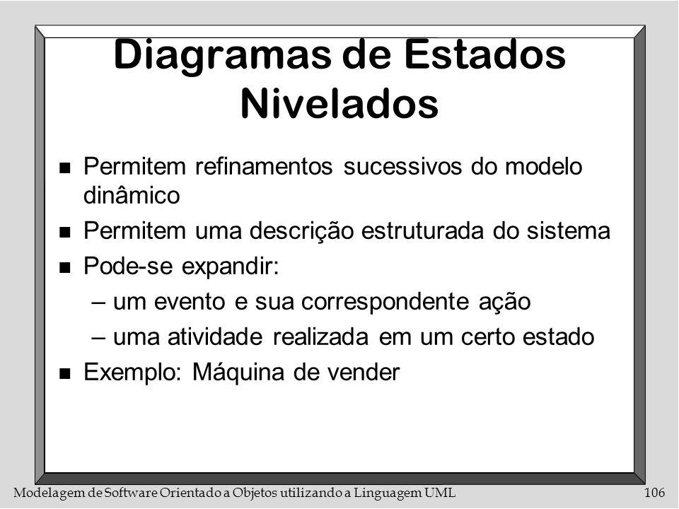 Modelagem de Software Orientado a Objetos utilizando a Linguagem UML106 Diagramas de Estados Nivelados n Permitem refinamentos sucessivos do modelo di