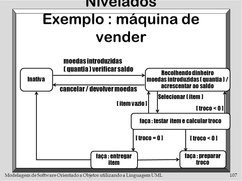Modelagem de Software Orientado a Objetos utilizando a Linguagem UML107 Diagramas de Estados Nivelados Exemplo : máquina de vender Inativa moedas intr