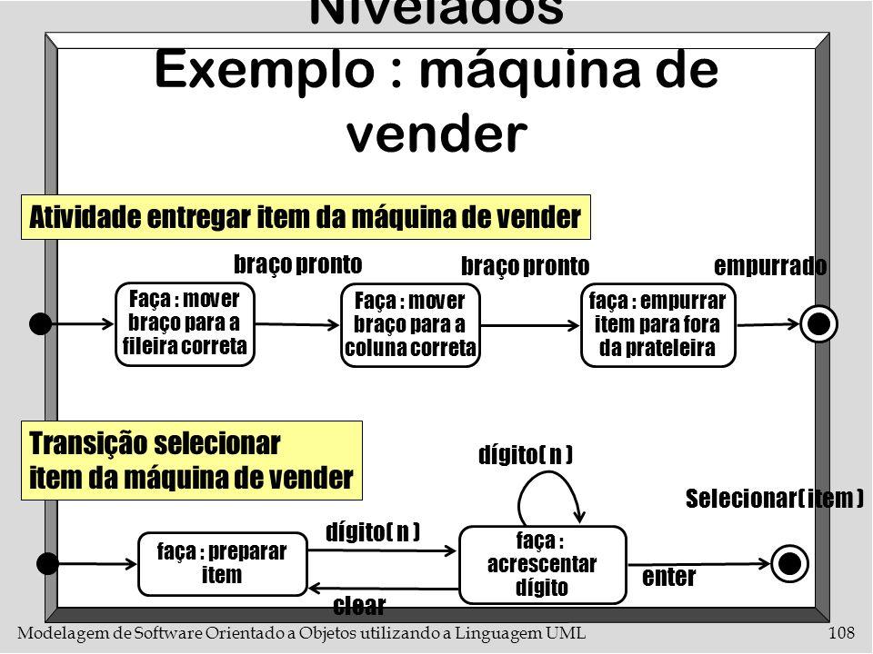 Modelagem de Software Orientado a Objetos utilizando a Linguagem UML108 Diagramas de Estados Nivelados Exemplo : máquina de vender Faça : mover braço