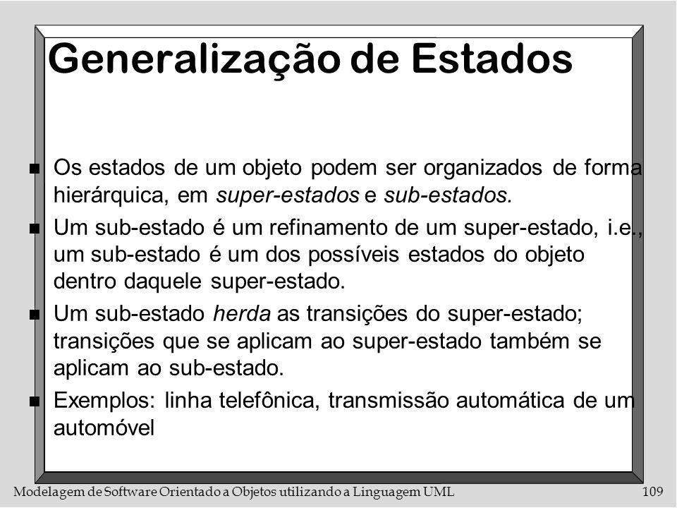 Modelagem de Software Orientado a Objetos utilizando a Linguagem UML109 Generalização de Estados n Os estados de um objeto podem ser organizados de fo