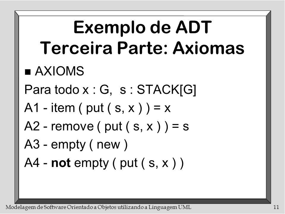 Modelagem de Software Orientado a Objetos utilizando a Linguagem UML11 Exemplo de ADT Terceira Parte: Axiomas n AXIOMS Para todo x : G, s : STACK[G] A