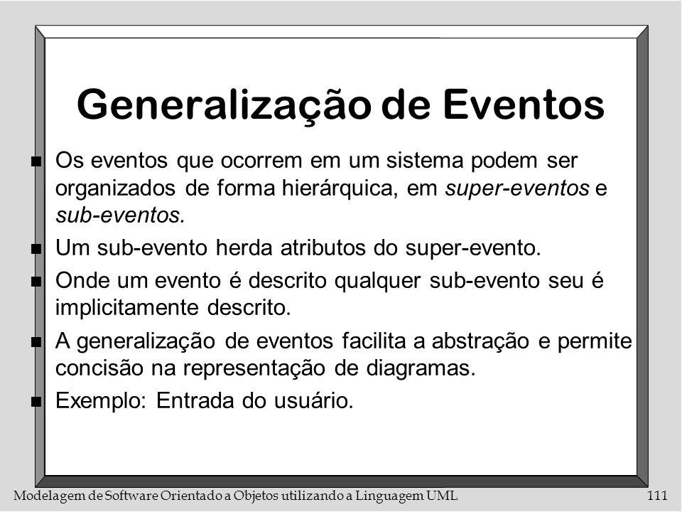 Modelagem de Software Orientado a Objetos utilizando a Linguagem UML111 Generalização de Eventos n Os eventos que ocorrem em um sistema podem ser orga