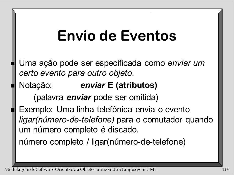 Modelagem de Software Orientado a Objetos utilizando a Linguagem UML119 Envio de Eventos n Uma ação pode ser especificada como enviar um certo evento