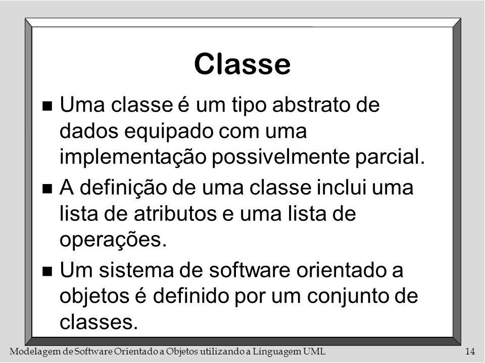 Modelagem de Software Orientado a Objetos utilizando a Linguagem UML14 Classe n Uma classe é um tipo abstrato de dados equipado com uma implementação