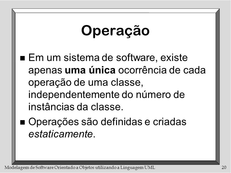 Modelagem de Software Orientado a Objetos utilizando a Linguagem UML20 Operação n Em um sistema de software, existe apenas uma única ocorrência de cad