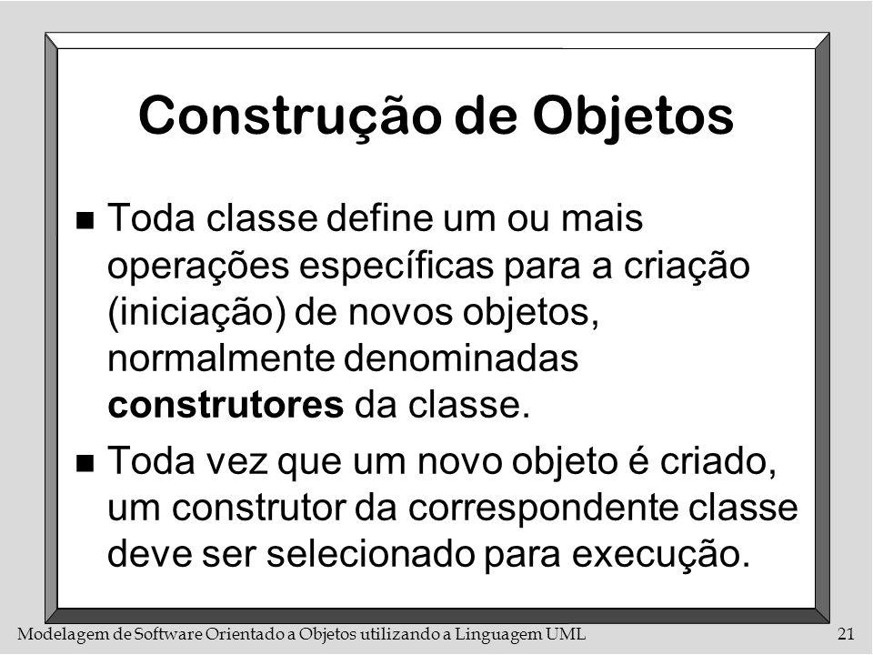 Modelagem de Software Orientado a Objetos utilizando a Linguagem UML21 Construção de Objetos n Toda classe define um ou mais operações específicas par