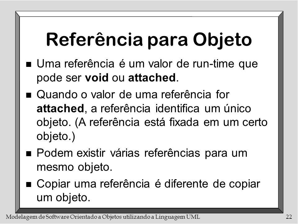 Modelagem de Software Orientado a Objetos utilizando a Linguagem UML22 Referência para Objeto n Uma referência é um valor de run-time que pode ser voi