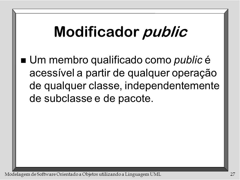 Modelagem de Software Orientado a Objetos utilizando a Linguagem UML27 Modificador public n Um membro qualificado como public é acessível a partir de