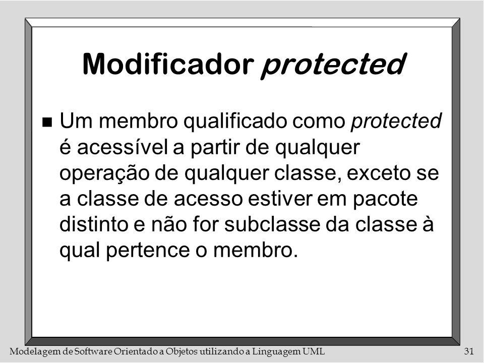 Modelagem de Software Orientado a Objetos utilizando a Linguagem UML31 Modificador protected n Um membro qualificado como protected é acessível a part
