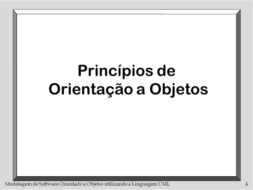 Modelagem de Software Orientado a Objetos utilizando a Linguagem UML105 Diagrama de Estados com Operações Notação Estado 1 faça : atividade 1 Evento 1 ( atributos ) [ condição 1 ] / ação 1 Estado 2...