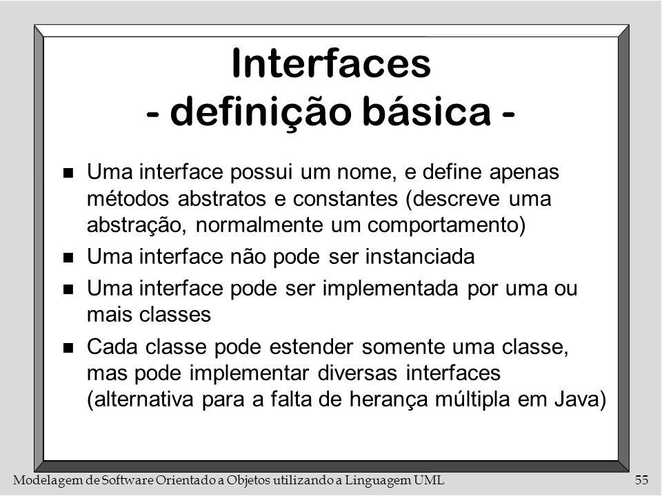 Modelagem de Software Orientado a Objetos utilizando a Linguagem UML55 Interfaces - definição básica - n Uma interface possui um nome, e define apenas