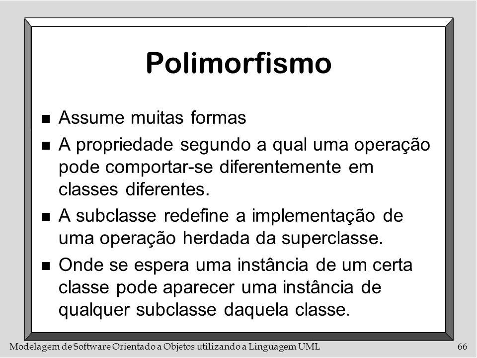 Modelagem de Software Orientado a Objetos utilizando a Linguagem UML66 Polimorfismo n Assume muitas formas n A propriedade segundo a qual uma operação