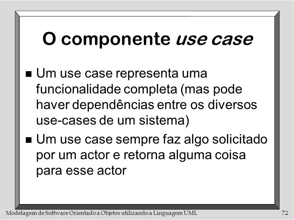 Modelagem de Software Orientado a Objetos utilizando a Linguagem UML72 O componente use case n Um use case representa uma funcionalidade completa (mas