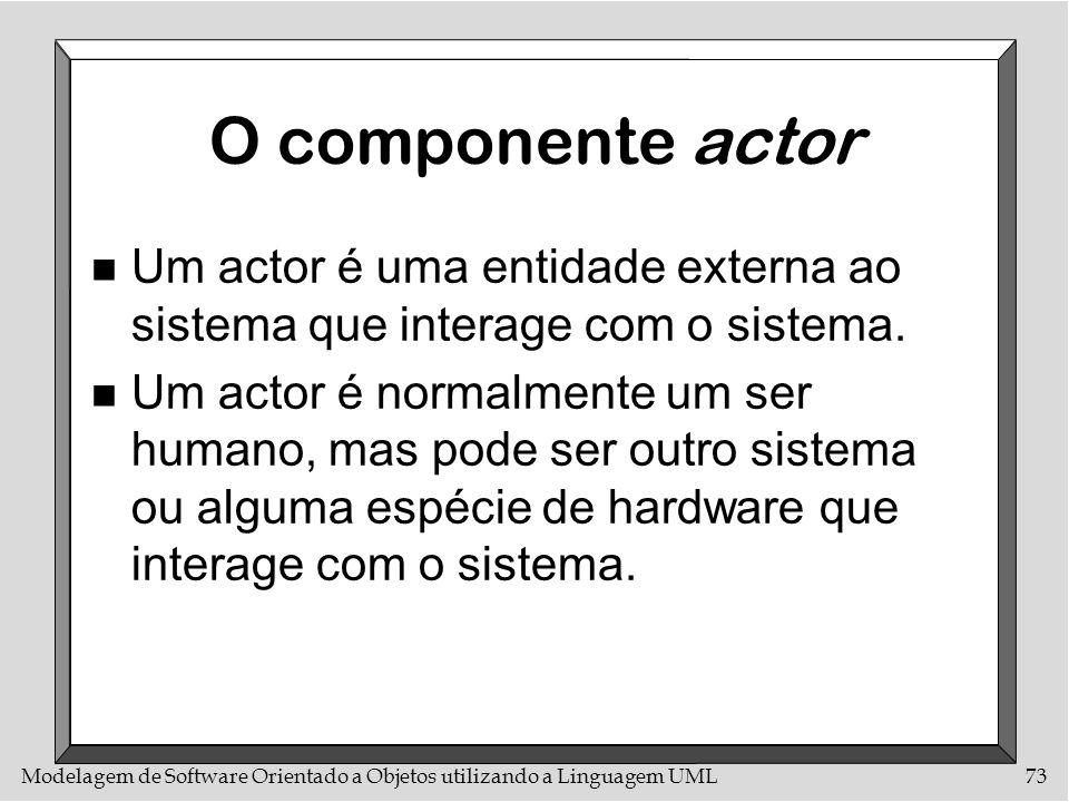 Modelagem de Software Orientado a Objetos utilizando a Linguagem UML73 O componente actor n Um actor é uma entidade externa ao sistema que interage co