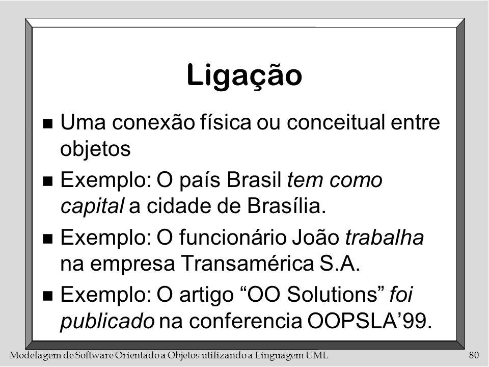 Modelagem de Software Orientado a Objetos utilizando a Linguagem UML80 Ligação n Uma conexão física ou conceitual entre objetos n Exemplo: O país Bras