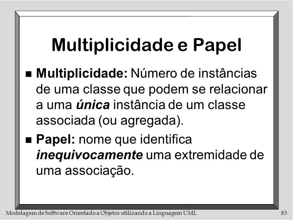 Modelagem de Software Orientado a Objetos utilizando a Linguagem UML83 Multiplicidade e Papel n Multiplicidade: Número de instâncias de uma classe que