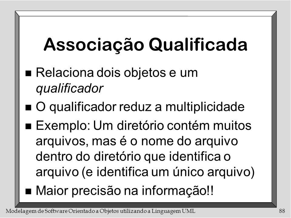 Modelagem de Software Orientado a Objetos utilizando a Linguagem UML88 Associação Qualificada n Relaciona dois objetos e um qualificador n O qualifica