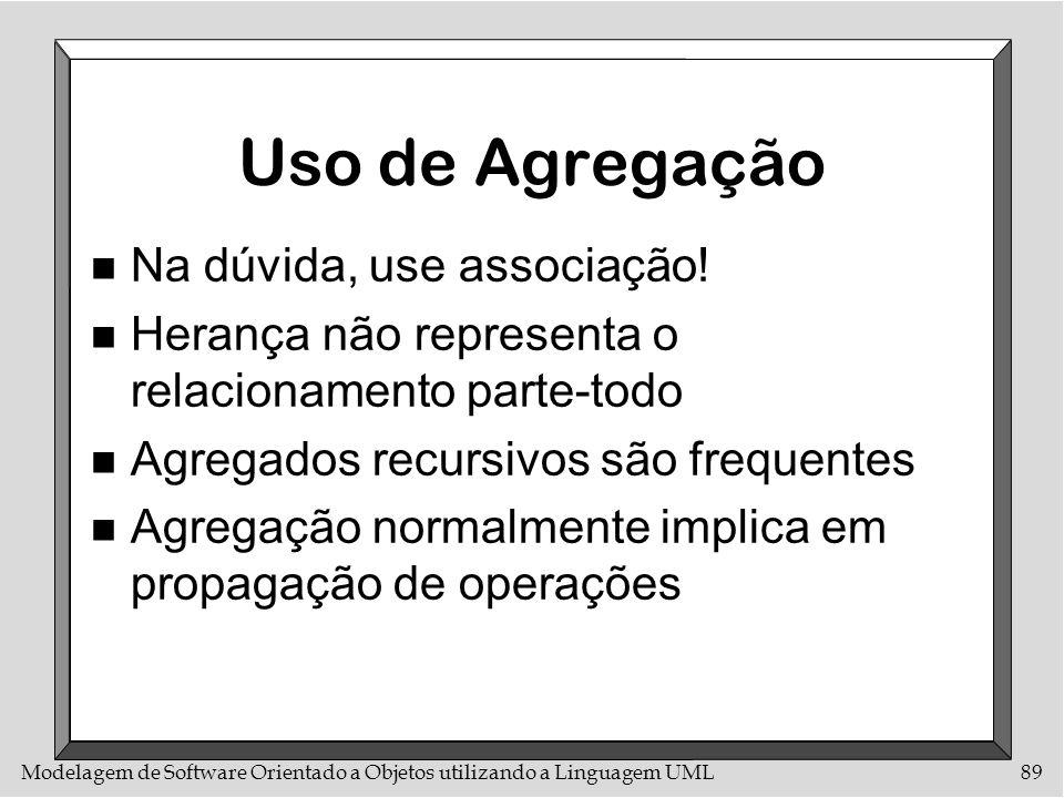 Modelagem de Software Orientado a Objetos utilizando a Linguagem UML89 Uso de Agregação n Na dúvida, use associação! n Herança não representa o relaci