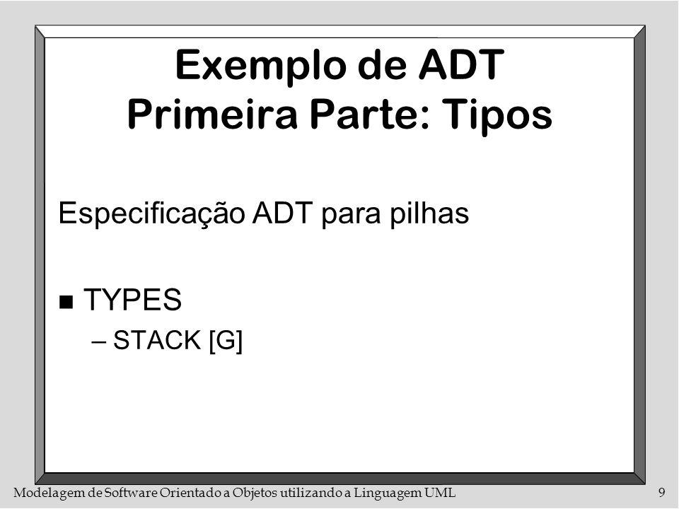 Modelagem de Software Orientado a Objetos utilizando a Linguagem UML10 Exemplo de ADT Segunda Parte: Funções n FUNCTIONS –put: STACK[G] X G --> STACK[G] –remove: STACK[G] -/-> STACK[G] –item: STACK[G] -/-> G –empty: STACK[G] --> BOOLEAN –new: STACK[G]