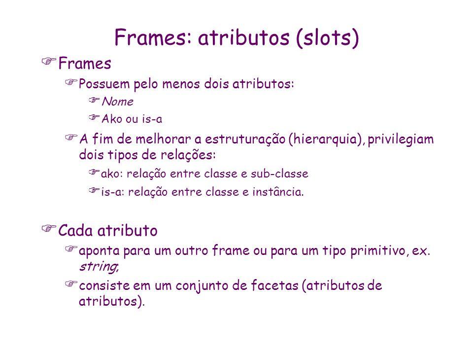 Frames: atributos (slots) Frames Possuem pelo menos dois atributos: Nome Ako ou is-a A fim de melhorar a estruturação (hierarquia), privilegiam dois t