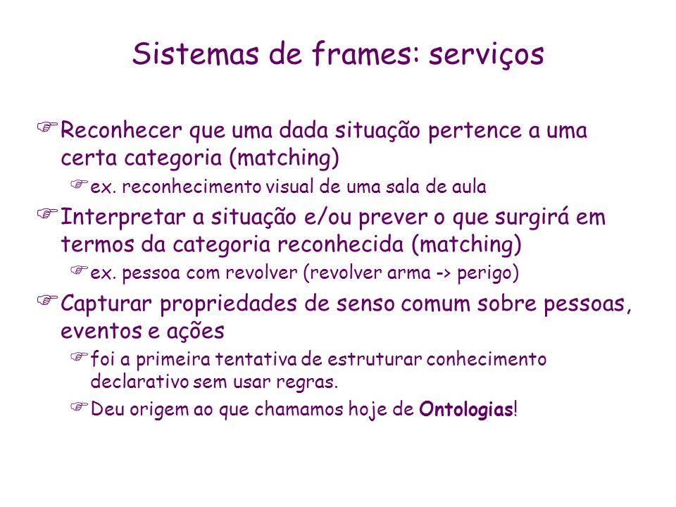Sistemas de frames: serviços Reconhecer que uma dada situação pertence a uma certa categoria (matching) ex. reconhecimento visual de uma sala de aula