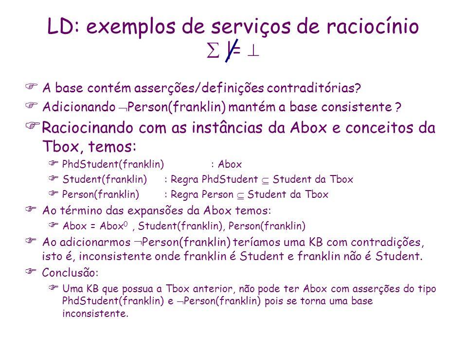 LD: exemplos de serviços de raciocínio |= A base contém asserções/definições contraditórias? Adicionando Person(franklin) mantém a base consistente ?