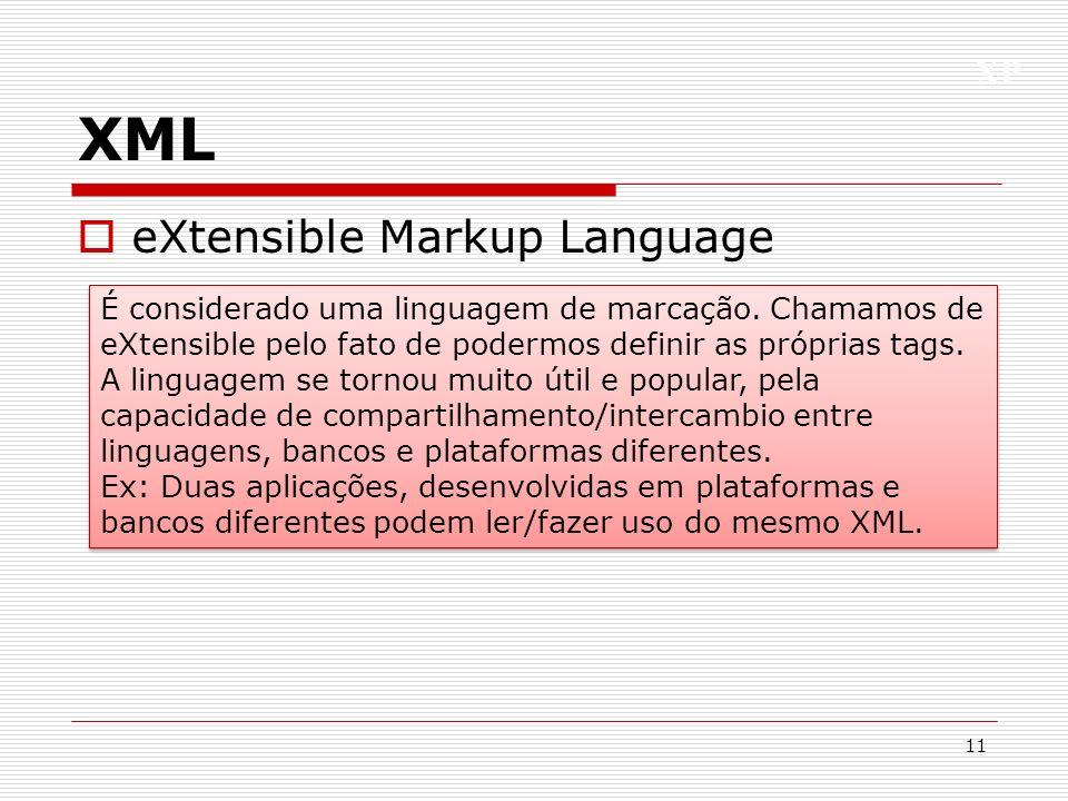 XP XML eXtensible Markup Language 11 É considerado uma linguagem de marcação. Chamamos de eXtensible pelo fato de podermos definir as próprias tags. A