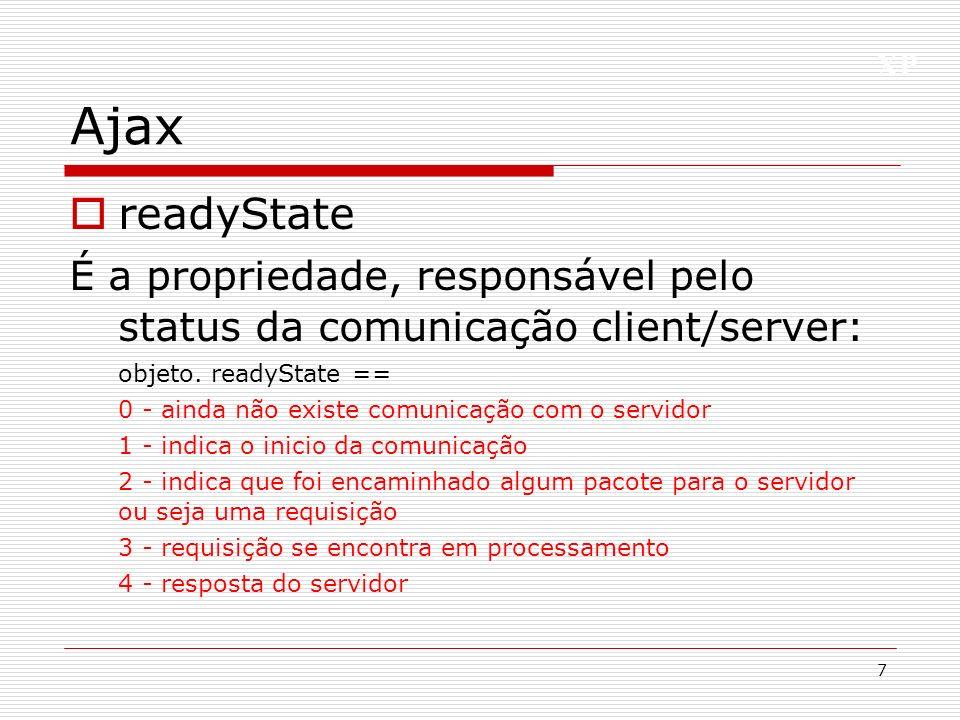 XP Ajax readyState É a propriedade, responsável pelo status da comunicação client/server: objeto. readyState == 0 - ainda não existe comunicação com o