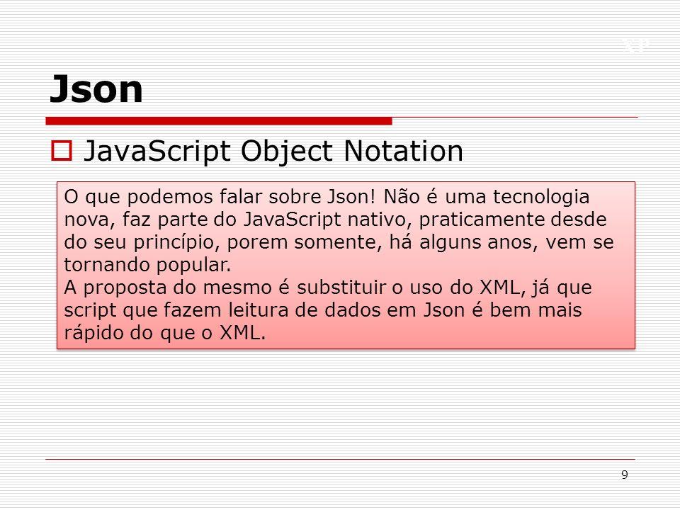 XP Json JavaScript Object Notation 9 O que podemos falar sobre Json! Não é uma tecnologia nova, faz parte do JavaScript nativo, praticamente desde do