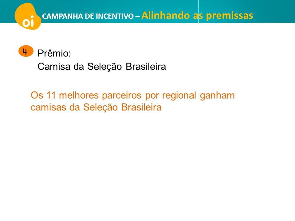 CAMPANHA DE INCENTIVO – Alinhando as premissas Os 11 melhores parceiros por regional ganham camisas da Seleção Brasileira Prêmio: Camisa da Seleção Br